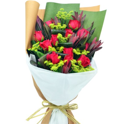 Valentines Day 12pcs Roses Bouquet