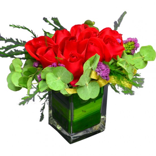 One Dozen Roses in a Square Vase