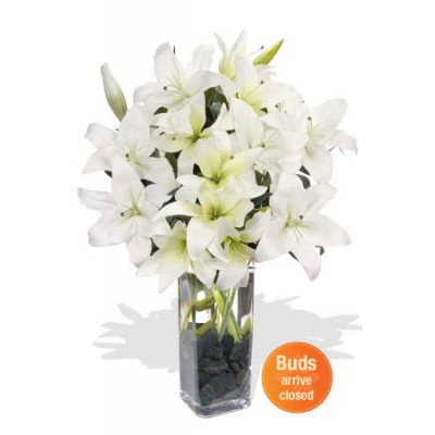 7 Oriental White Lily Bouquet