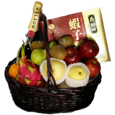 Mid Autumn Festival Fruits Hamper with Champagne
